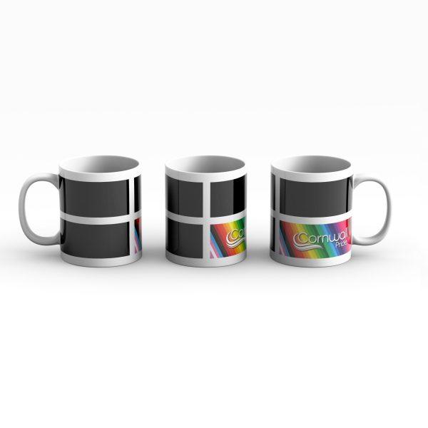 Cornwall Pride Flag Logo Mug 3 way shot