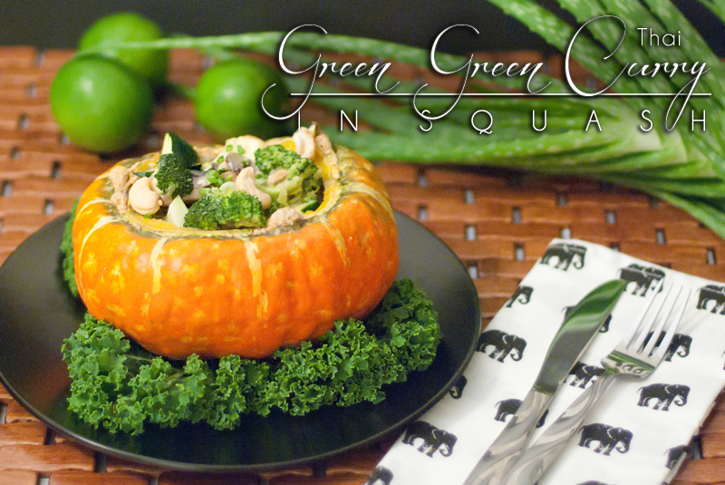 Thai Green Curry in Turban Squash