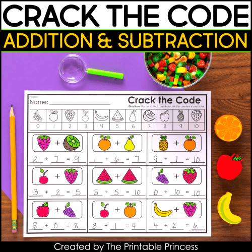 small resolution of Crack the Code Addition and Subtraction Worksheets   The Printable Princess