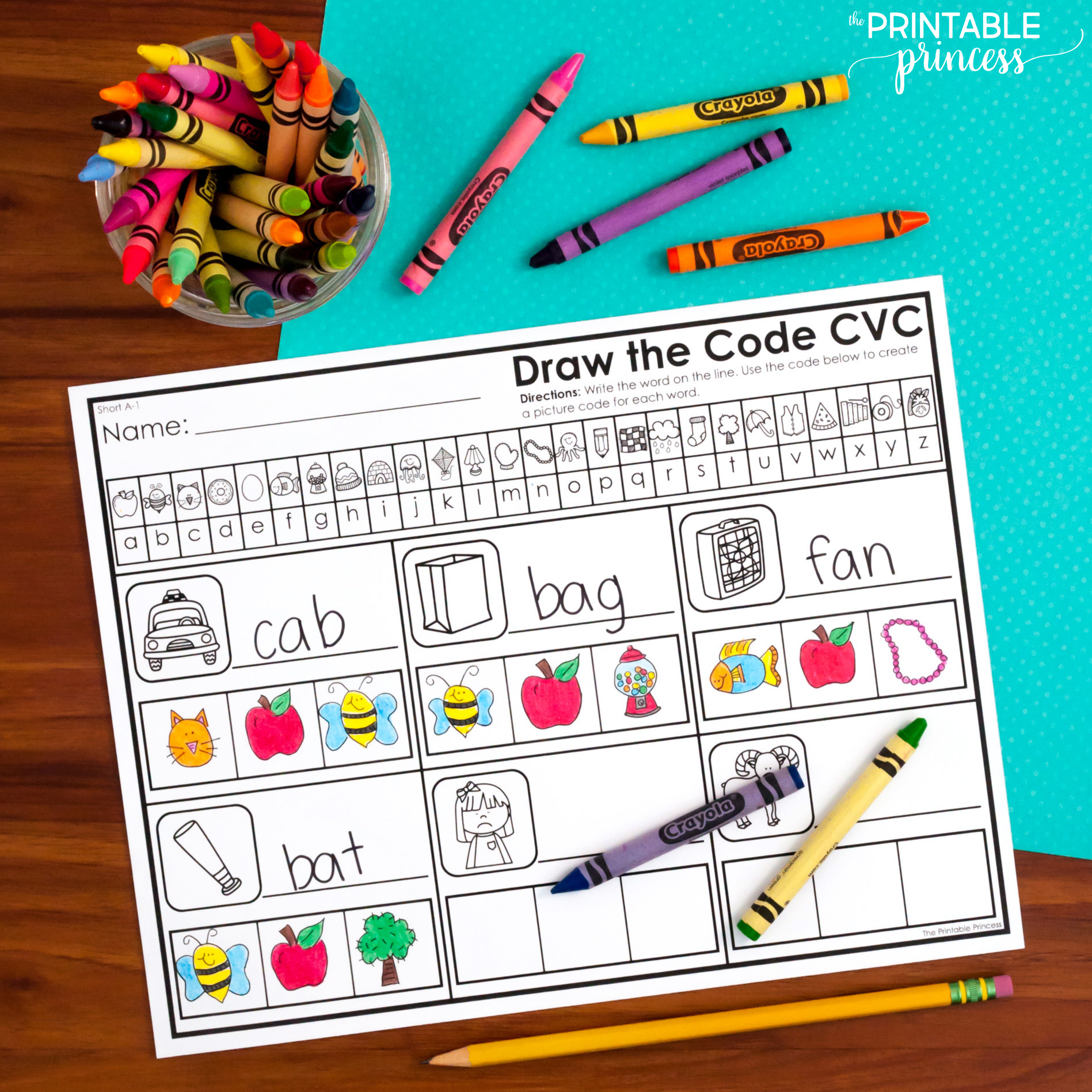 Draw The Secret Code Cvc Worksheets