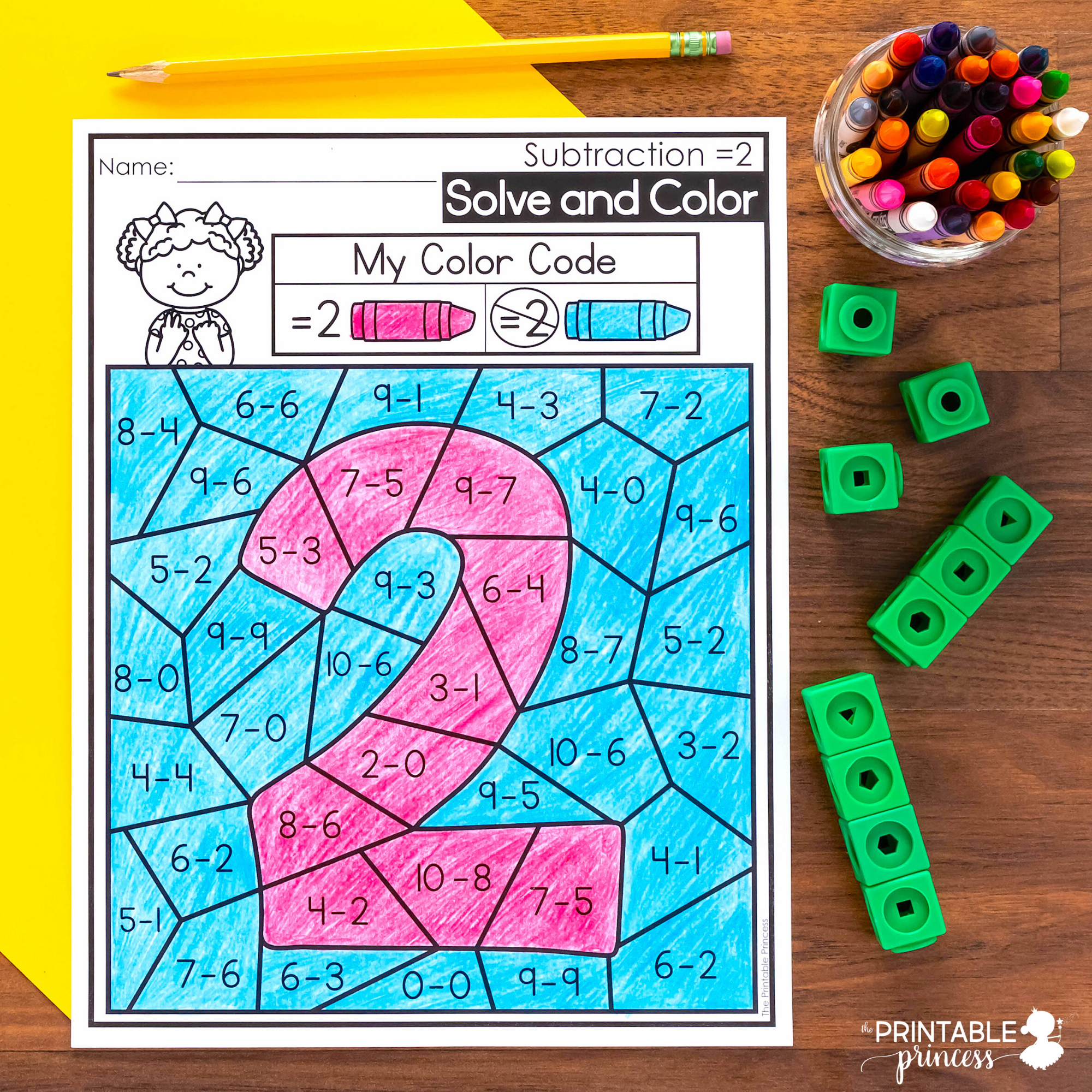 Solve And Color Addition And Subtraction Coloring Pages