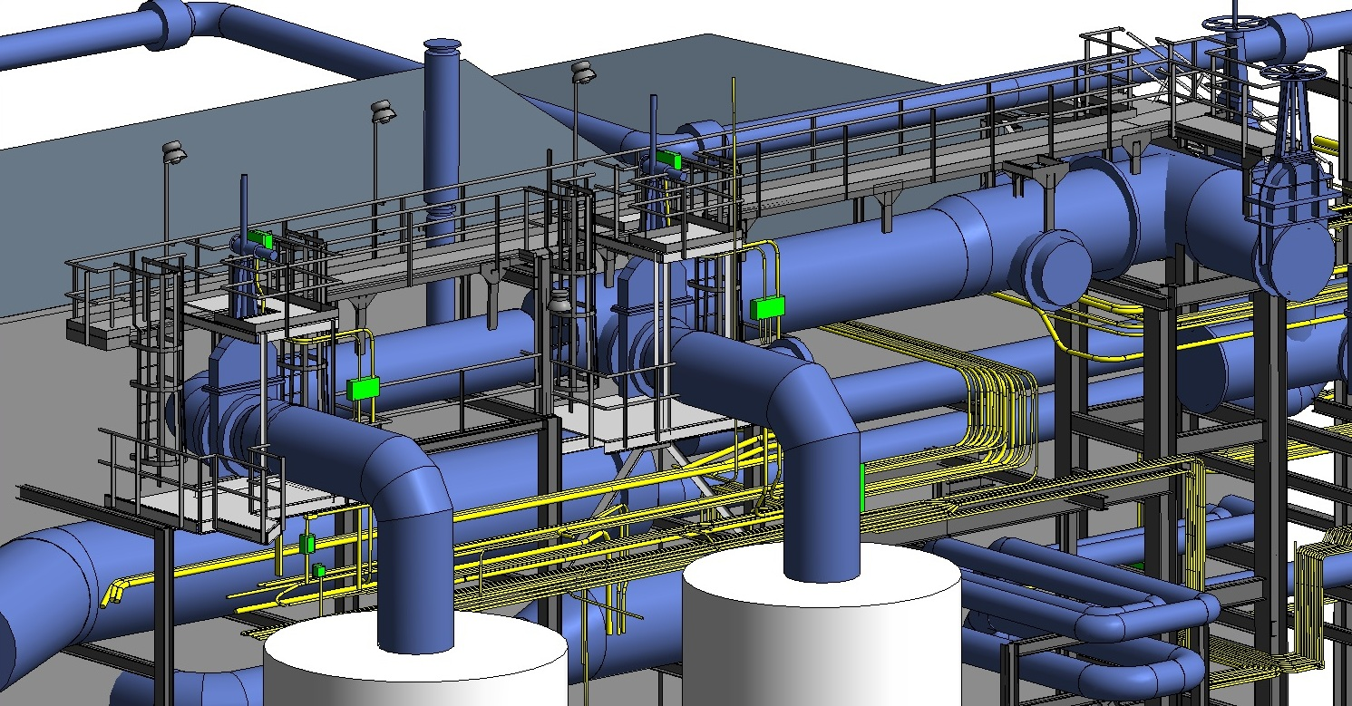 hight resolution of power plant piping layout