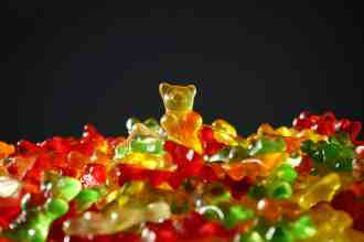 Photo of colored gummy bears.