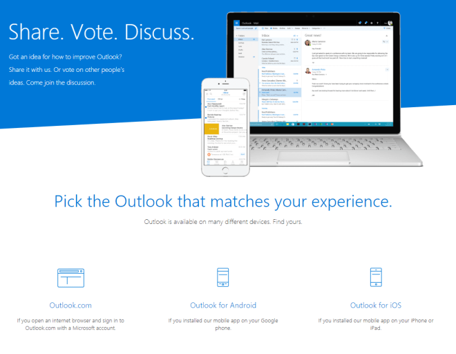 Outlook UserVoice example
