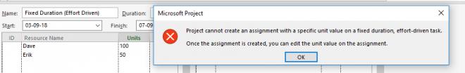 Error message Effort driven fixed Durations