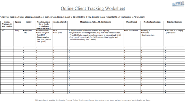 Personal Trainer Client Tracking Spreadsheet [Download] | thePTDC ...