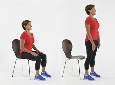 chair stands on clear plastic patio covers 3 functional tests for older clients to assess quality of movement now ask the client stand from seated position counting aloud every rep stop test when patient can get five reps sit