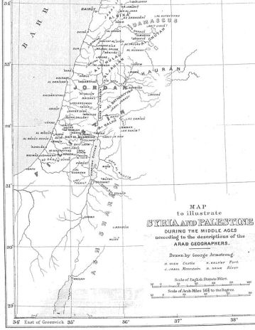 Map of Palestine during the Middle Ages accord...