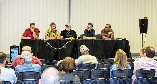 "Garyn Roberts, from left, Morgan Holmes, Don Herron, Will Murray, and moderator Tom Krabacher discuss ""Weird Tales."""