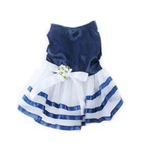Urparcel Pet Dog Tutu Dress Princess Stripe Bow Lace Skirt Puppy Clothes Apparel M