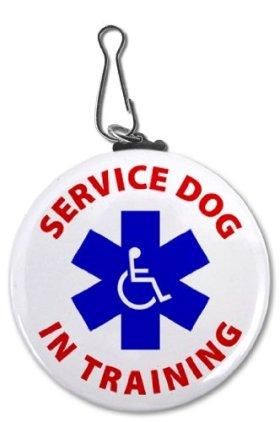 SERVICE DOG In Training Blue Alert Symbol 2.25 inch Clip Tag
