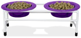 Platinum Pets White Modern Double Diner Cat/Puppy Stand with Two 1 Cup Rimmed Bowls, Purple