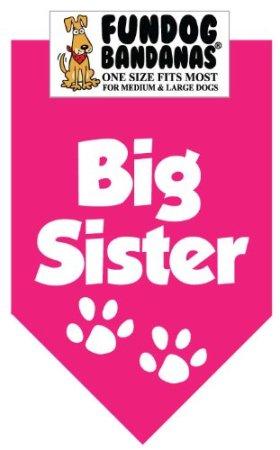 Big Sister Bandana for Medium to Large Dogs – hot pink