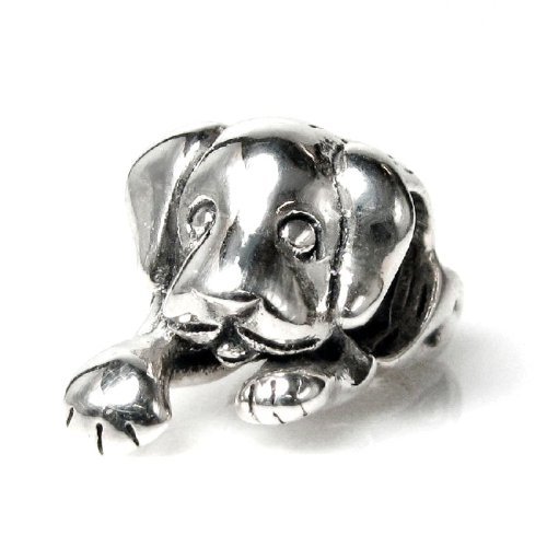 Queenberry Antique 925 Sterling Silver Cute Lovely Puppy House Dog Bead for European Charm Bracelets