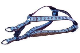 Sassy Dog Wear 8-16-Inch Blue/Brown Puppy Paws Dog Harness, X-Small