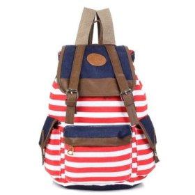 Shopinthebox Canvas Backpack School Bag Cute Stripe for School Laptop Bag Shoulder Bag(red)