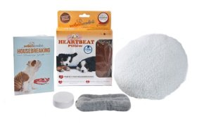 PetZu Mother's Comfort Heartbeat Pet Pillow, Chocolate/White