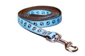 Sassy Dog Wear 6-Feet Blue/Brown Puppy Paws Dog Leash, Medium