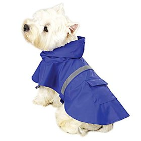 Guardian Gear Vinyl Dog Rain Jacket with Reflective Strip, Medium, Blue
