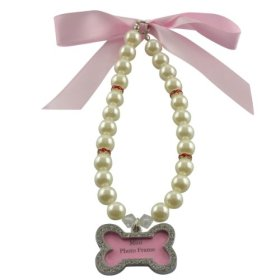 Dogloveit Pet Puppy Cat Dog Accessories Pearl Necklace w/ Shiny Bone Pendant Lovely Jewelry for Pet Dog Cat (Pink, L)