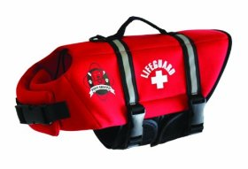 Paws Aboard Small Neoprene Designer Doggy Life Jacket, Red Lifeguard