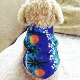 Urparcel Dog Cat T Shirt Pet Clothing Shirt Puppy Clothes Summer Apparel Beachwear Outfit Blue M