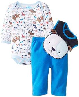 BON BEBE Baby-Boys Newborn Puppy Bodysuit Bib and Micro Fleece Pant Set, Multi, 6-9 Months