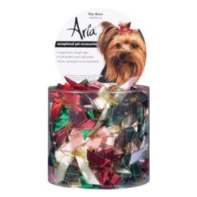 Aria Tiny Dog Bows Canister with Gold Beads, 100-Pack