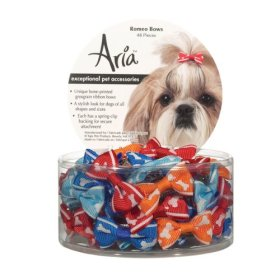 Aria Grosgrain Ribbon Romeo Dog Bows Canisters, 1-1/4-Inch, 48-Pack