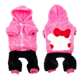 Single Breasted Bowknot Decor Hoodie Yorkie Pet Dog Clothes Jumpsuit Pink M