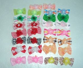 30 Dog Hair Bows 2 inch size – 3D with Shiffon Flower & Beads – Excellent for Girl Doggies!!!-handmade for Grooming