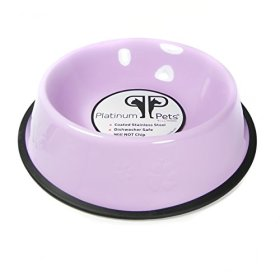 Platinum Pets Platinum Pets 1-Cup Embossed Non-Tip Puppy Bowl, Sweet Lilac