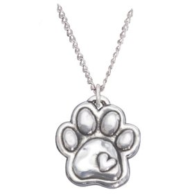 Rockin' Doggie Sterling Silver Necklace, Paw with Heart