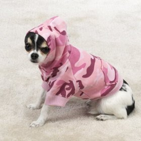 Casual Canine Cotton Camo Dog Hoodie, X-Large, Pink