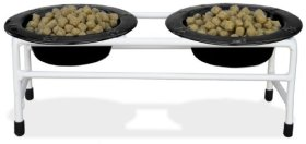 Platinum Pets White Modern Double Diner Cat/Puppy Stand with Two 1 Cup Rimmed Bowls, Black