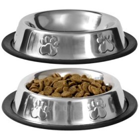 Petco Pet Food Bowl Stainless Steel Non Skid Pet Paws Doodler Dish Is Perfect for a Small Dog Cat Kitten Puppy (2 bowls per order)