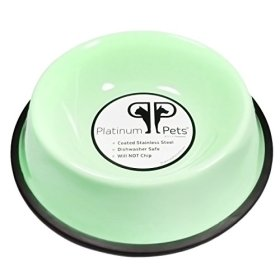 Platinum Pets Platinum Pets 1-Cup Non-Embossed Non-Tip Cat/Puppy Bowl, Winter Mint