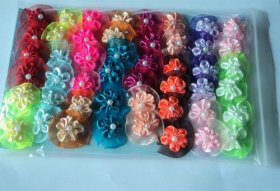 48 Dog Grooming Hair Bows – Topknots Round design with many layers of Flower and Jewel in the center for small breed less than 8 LBS- A total of 12 designs/colors available with 4 designs each in the pack-Cute!!!