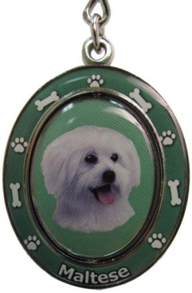 """Maltese Puppy Key Chain """"Spinning Pet Key Chains""""Double Sided Spinning Center With Maltese Puppys Face Made Of Heavy Quality Metal Unique Stylish Maltese Puppy Gifts"""