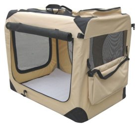 EliteField Beige 30″ 3-Door Soft Dog Crate, 30″ long x 21″ wide x 24″ high, 5-size & 3-color Metal Crates, 4-size & 4-color Soft Crates, 5-size Metal Pens, 3-size Soft Pens