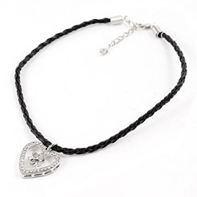 Pets Dog Braided Rope Heart Shape Pendant Necklace Black Silver Tone