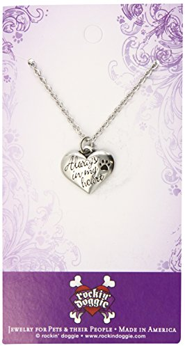 Rockin' Doggie Pewter Memorial Necklace, Always in My Heart