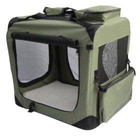 EliteField Sage Green 30″ 3-Door Soft Dog Crate, 30″ Long x 21″ Wide x 24″ High