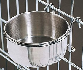 20 Oz. Stainless Steel Cage Coop Cup Bird Cat Dog Puppy Food Water Bowl pet travel