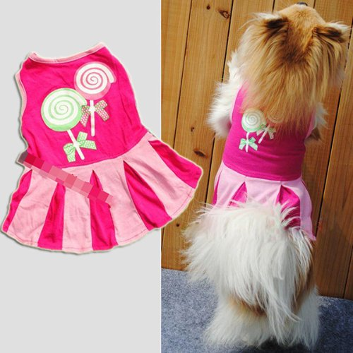 Generic Candy Heart Circle Pattern Puppy Dog Doggie Apparel Clothes Hoodies Skirt Dress(hot pink S Size)