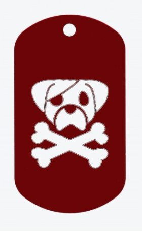 Pirate Puppy Laser Engraved Aluminum Dog Tag Red