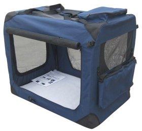 EliteField Navy Blue 36″ 3-Door Soft Dog Crate, 36″ Long x 24″ Wide x 28″ High