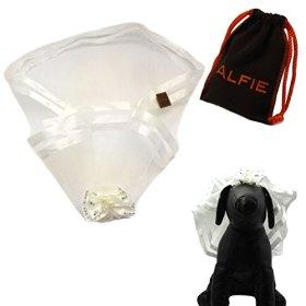 Alfie Pet by Petoga Couture – Khloe Bridal Wedding Clip Veil with Fabric Storage Bag – Color: White