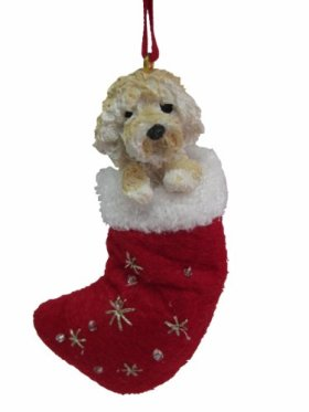 """Goldendoodle Christmas Stocking Ornament with """"Santa's Little Pals"""" Hand Painted and Stitched Detail"""