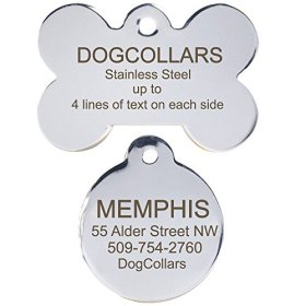 Stainless Steel Pet Id Tags: Bone, Round, Heart, and Rectangle. Includes up to 8 Lines of Customized Text – Front and Back Engraving. Polished Mirror-finish Surface.